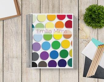 NEW DESIGN! Custom Planner 2020-2021 -- Matte Rainbow Color Palette