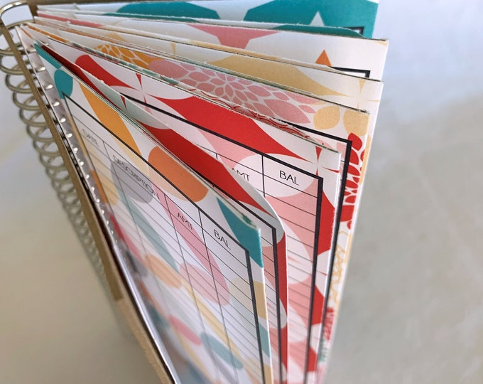 NEW!! Money Envelope Wallet   Cash Envelope System   Money Envelope Book -- Retro Brights