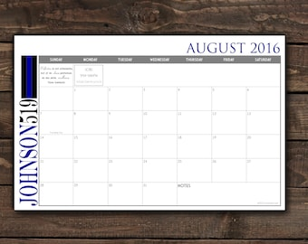 Custom Desk Calendar, Desk Pad, Blotter Calendar - Simple Thin Blue Line, Law Enforcement, Yearly Calendar, CHOOSE YOUR DATES