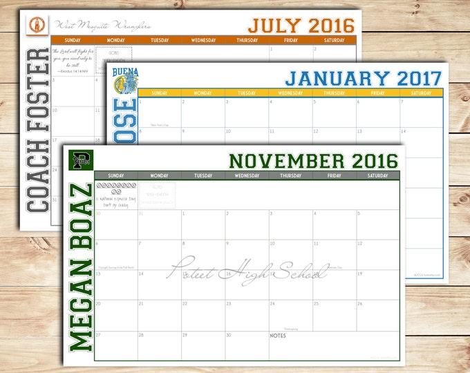 Print your own Custom Desk Calendar, Desk Pad, Blotter Calendar, Academic Calendar, Yearly Calendar -- VARSITY School Spirit