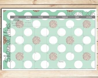 Mint and Gold Polka Dots Custom Desk Calendar, Desk Pad, Blotter Calendar - Academic Calendar, Yearly Calendar, CHOOSE YOUR DATES