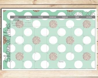 Digital Printable DIY Mint and Gold Polka Dots Custom Desk Calendar, Desk Pad, Blotter Calendar - Choose Your Dates