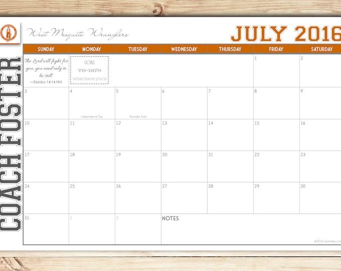 Custom Desk Calendar, Desk Pad, Blotter Calendar, Academic Calendar, Yearly Calendar -- VARSITY School Spirit You choose start month