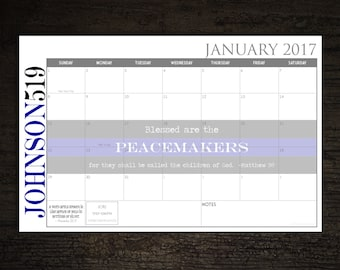 Custom Desk Calendar, Desk Pad, Blotter Calendar - Thin Blue Line PEACEMAKERS, Matthew 5:9, You choose dates