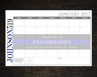 2021 Custom Desk Calendar, Desk Pad, Blotter Calendar - Thin Blue Line PEACEMAKERS, Matthew 5:9, You choose dates