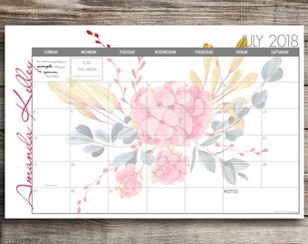 Custom Desk Calendar, Desk Pad, Blotter Calendar, Academic Calendar, Yearly Calendar -- Watercolor Flowers, CHOOSE YOUR DATES