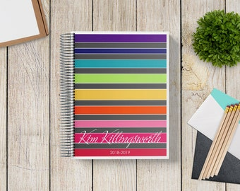 Custom Planner 2020-2021 -- Satin Rainbow Stripes