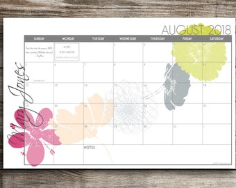 Digital Printable PRINT YOUR OWN Custom Desk Calendar, Desk Pad, Blotter Calendar - Cascading Flowers, Choose Your Dates