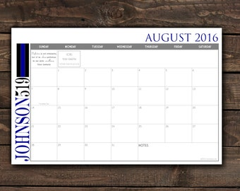 Digital Printable DIY Custom Desk Calendar, Desk Pad, Blotter Calendar - Simple Thin Blue Line, Law Enforcement