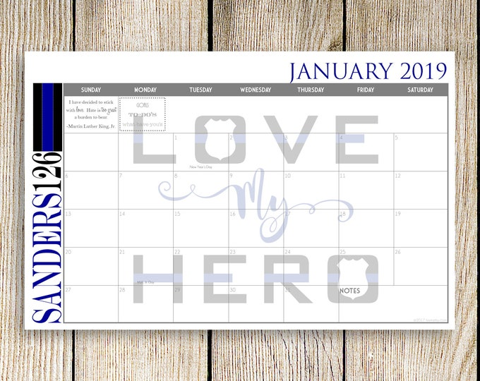 Custom Desk Calendar, Desk Pad, Blotter Calendar - Thin Blue Line Hero, Law Enforcement, Yearly Calendar, CHOOSE YOUR DATES