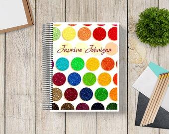 NEW DESIGN! Custom Planner 2020-2021 -- Rainbow Glitter Palette