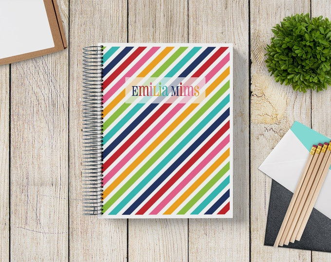 2021-2022 Custom MONTHLY Planner -- Rainbow Stripes