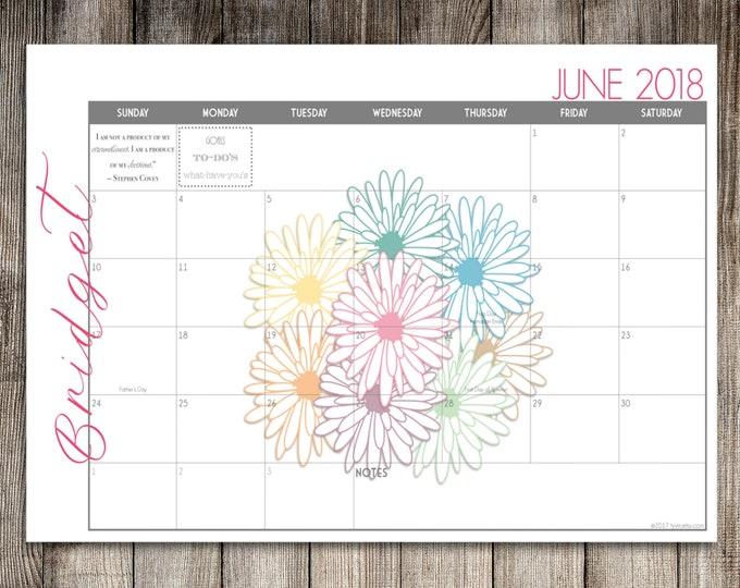 Custom Desk Calendar, Desk Pad, Blotter Calendar, Academic Calendar, Yearly Calendar -- Daisy Bouquet, CHOOSE YOUR DATES