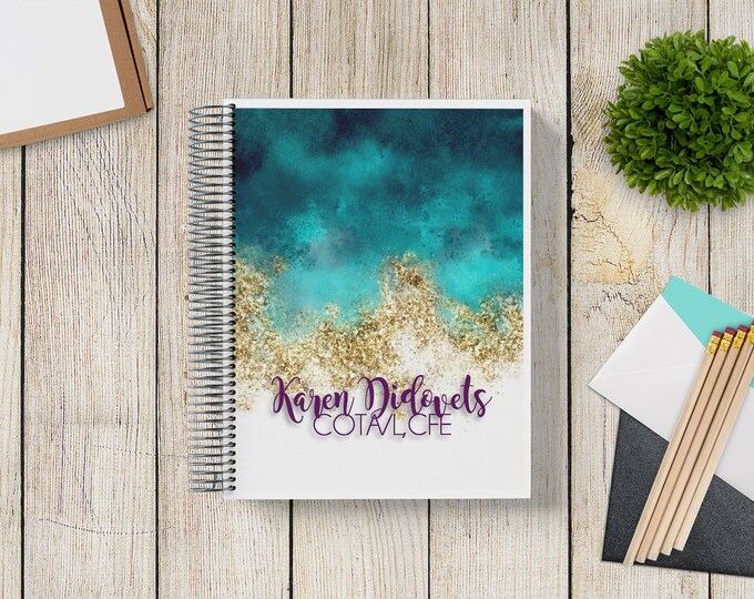 NEW Design! 2021-2022 Custom Monthly-Weekly Planner -- Sand and Sea