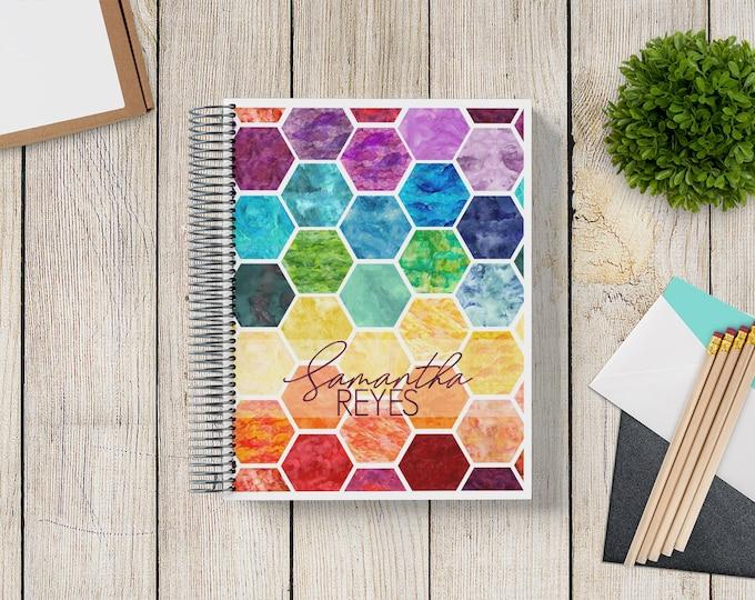 2021-2022 Custom Monthly-Weekly Planner -- Rainbow Watercolor Hexagon