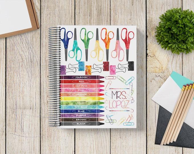 2021-2022 Custom Monthly-Weekly Planner -- Rainbow Watercolor School Supplies