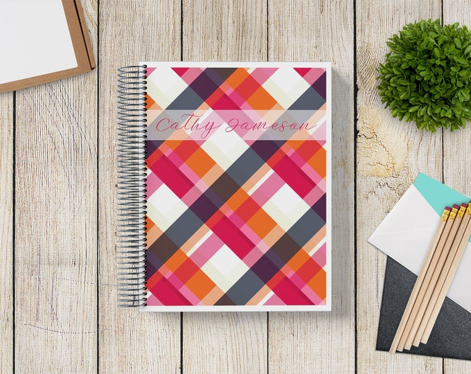NEW Design! 2021-2022 Custom Monthly-Weekly Planner -- MidMod Plaid