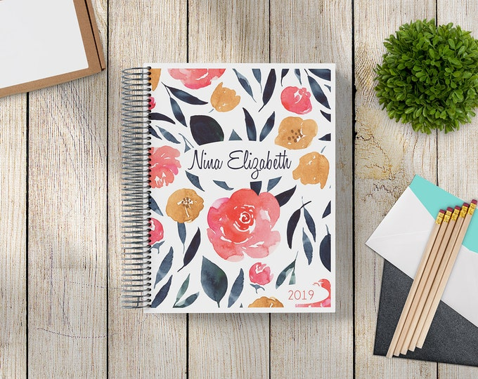 2021-2022 Custom Monthly-Weekly Planner -- Navy-Gold-Coral Floral