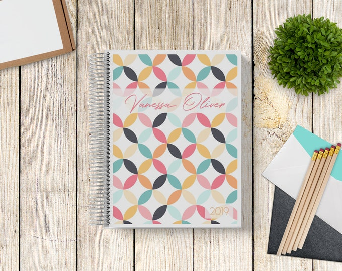 2021-2022 Custom Monthly-Weekly Planner -- Mid-Century Mod Circles