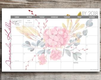 2021 Custom Desk Calendar, Desk Pad, Blotter Calendar, Academic Calendar, Yearly Calendar -- Watercolor Flowers, CHOOSE YOUR DATES