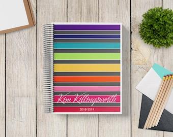 2021-2022 Custom Monthly-Weekly Planner -- Satin Rainbow Stripes