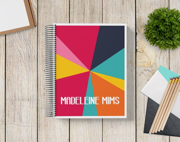 NEW Design! 2021-2022 Custom Monthly-Weekly Planner -- MidMod Kaleidoscope