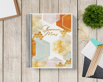 2021-2022 Custom Monthly-Weekly Planner -- Abstract Honeycomb