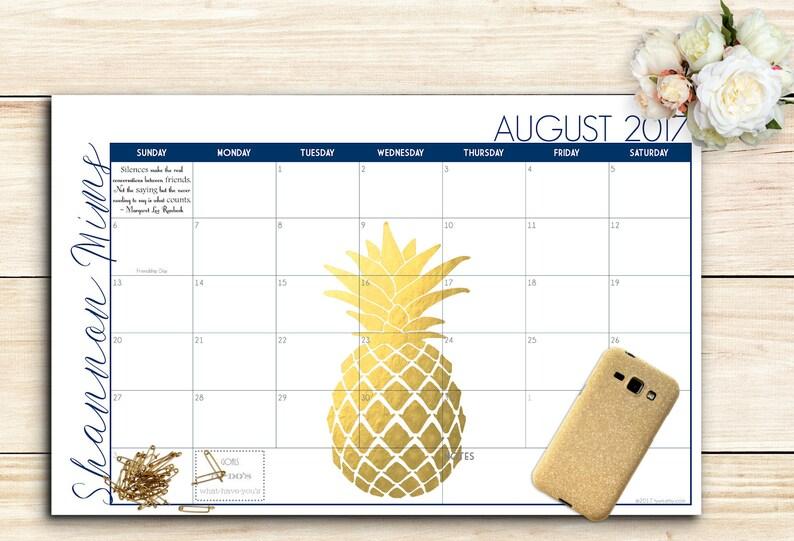 2021 Custom Desk Calendar Desk Pad Blotter Calendar  Golden image 0