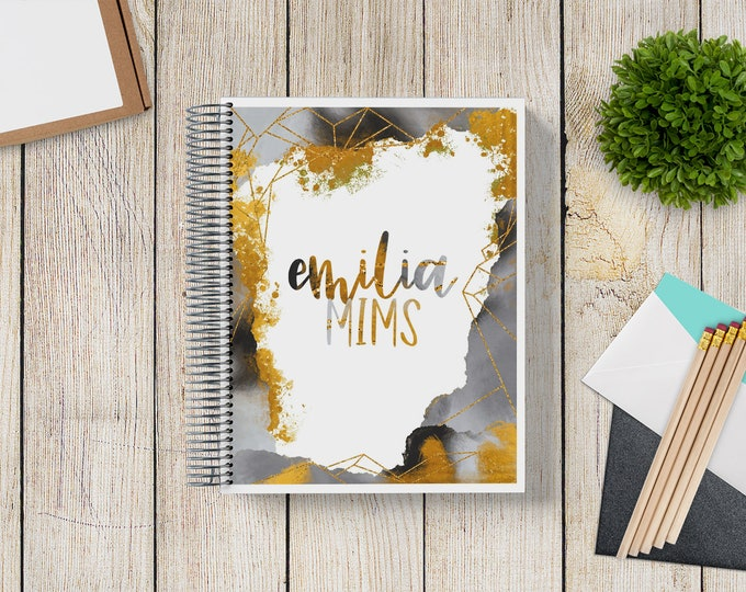 NEW Design! 2021-2022 Custom Monthly-Weekly Planner -- Black and Gold Watercolor Geo