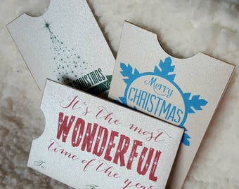 Vintage Style Christmas Holiday Gift Card Sleeve, Credit Card Sleeve with Ledger, Debit card sleeve, Gift card envelope