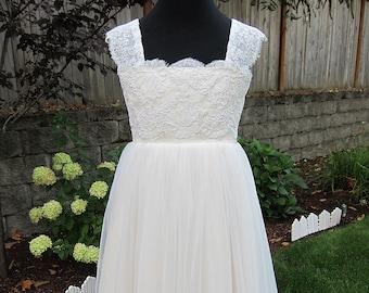 57a509a81 Flower girl dress, lace dress for girl, alencon lace dress for girl,  champagne flower girl dress, tulle skirt