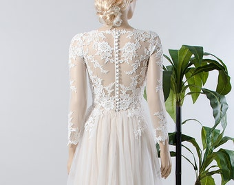 Lace wedding dress, long sleeve wedding dress, bridal gown with tulle skirt.