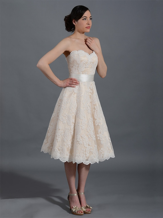 Champagne Short Lace Wedding Dress Strapless Wedding Dress Etsy