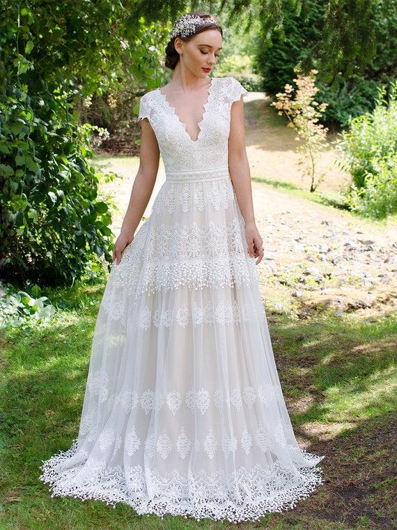 Boho Brautkleider Hochzeit Kleid Spitze Hochzeit Kleid Kappe