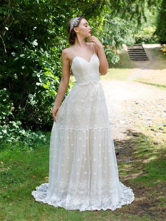Boho Wedding Dress Lace Wedding Dress Bohemian Wedding Dress Etsy