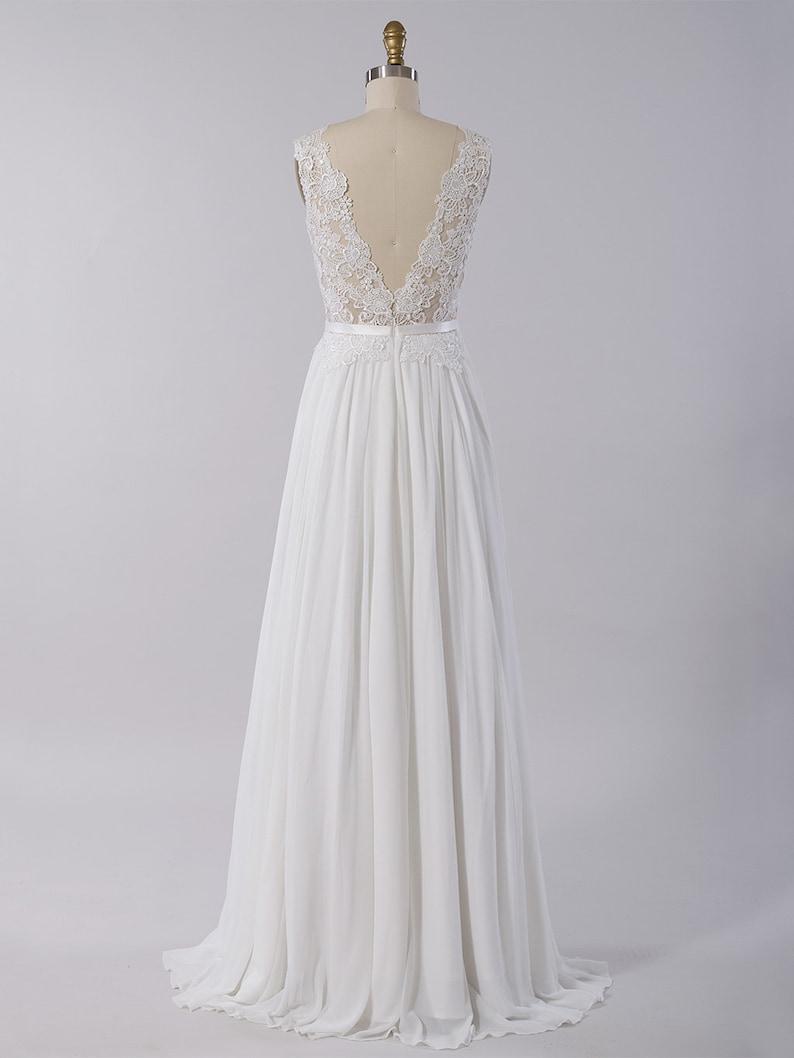 Sleeveless wedding dress with chiffon skirt lace wedding dress bridal gown lace bridal dress lace bridal gown lace wedding gown