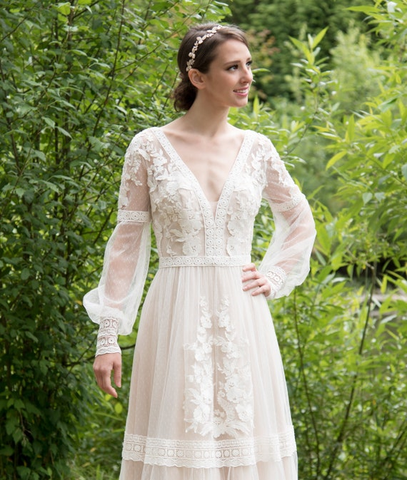 boho wedding dress lace wedding dress long sleeve bohemian wedding dress lace wedding dresses boho wedding dresses lace wedding gown