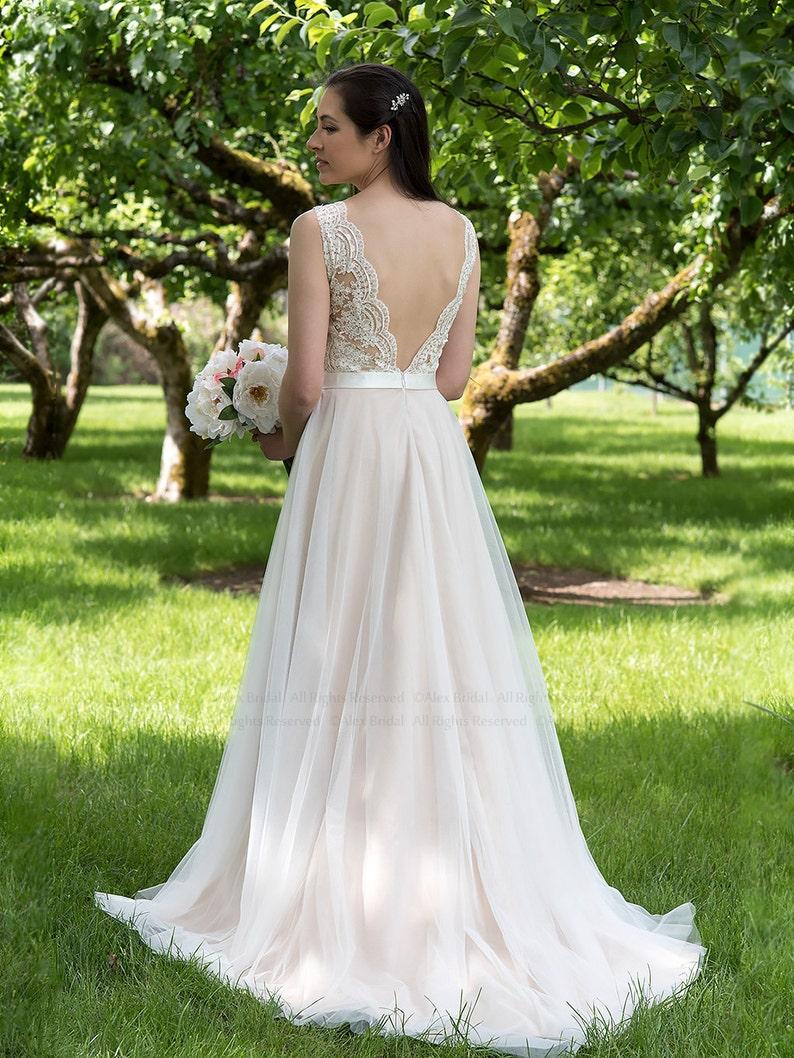 wedding dress lace wedding dress boho wedding dress nude image 0