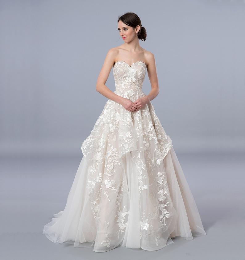 098b796d5b2e Senza spalline ball gown Abito pizzo matrimonio abito da sposa