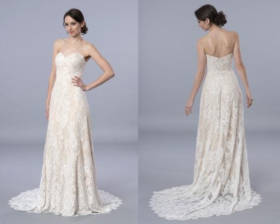 Boho Wedding Dress Lace Wedding Dress Strapless Bohemian Wedding Dress Lace Wedding Dresses Lace Wedding Gown
