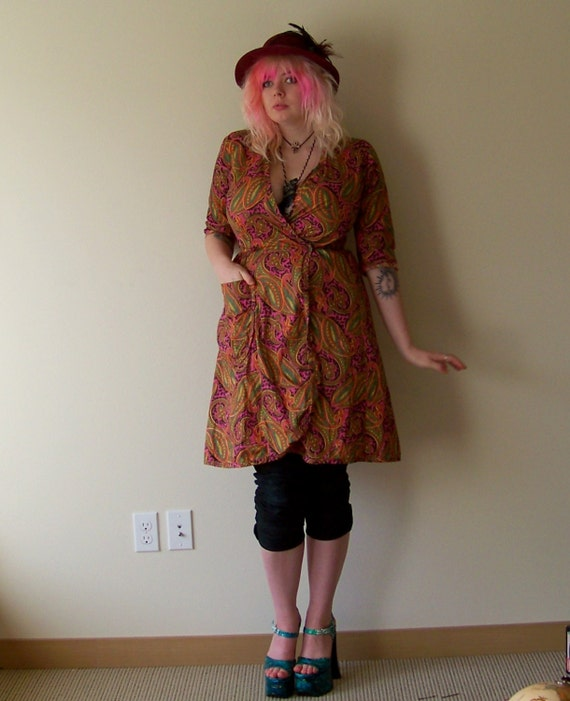 60s/70s Bright Psychedelic Paisley Wrap Dress by S