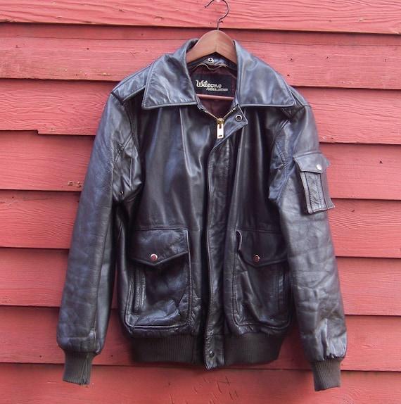 80 s noir Wilsons blouson en en blouson cuir moto Grunge Punk Biker 40 L 949644
