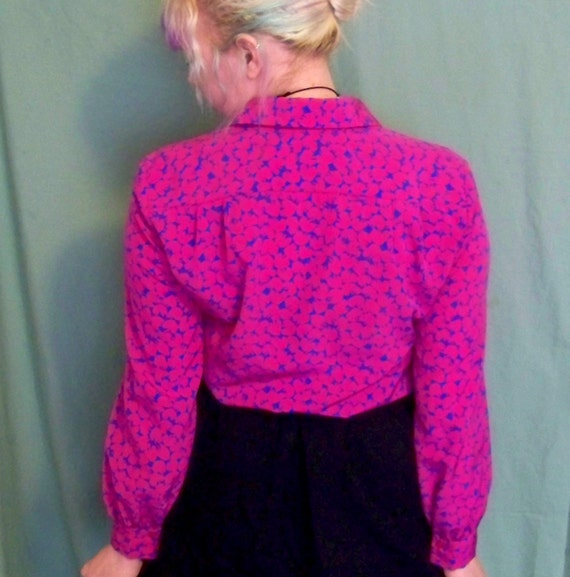 80s Psychedelic Working Girl Bold Pattern Polyester Ladies Blouse by Pendleton