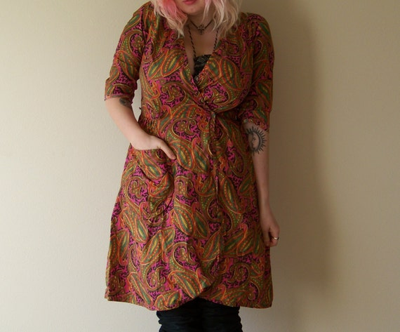 60s/70s Bright Psychedelic Paisley Wrap Dress by … - image 2
