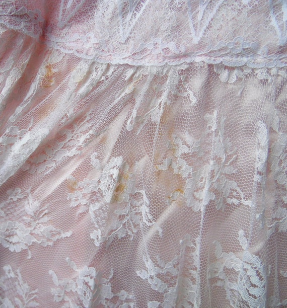 80s Peachy Pink Lace Gunne Sax Cape Sleeve Boho S… - image 5