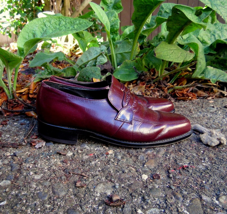 70s80s Auburn Florsheim Leather Loafers Mens 6.5 Ladies 8 Hipster Work Dress Slip On Shoes
