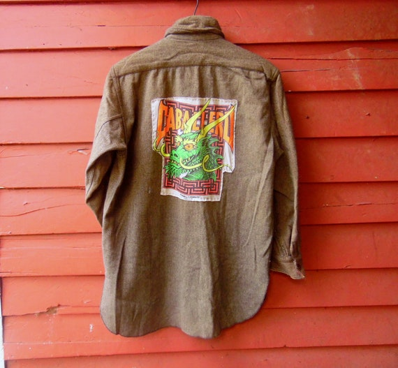 1900s Upcycled Mens Army Green Wool Powell Peralta