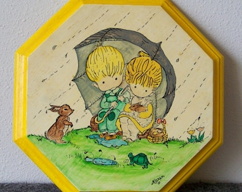 1973 April Showers Spring Yellow Painting Wall Mount Home Décor Art