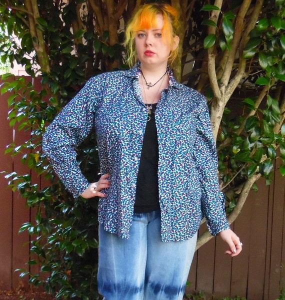 Blouse 70s vintage blue L XL Paisley hippie