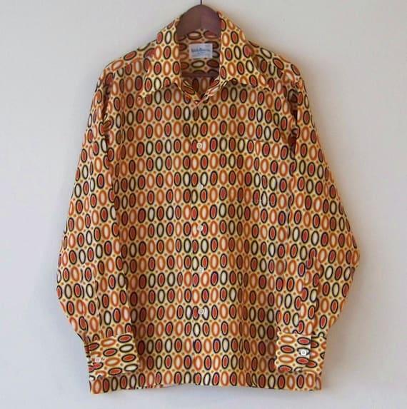 70 s groovy ovales toute l'impression l'impression toute Disco Polyester boutonnez travailler psychédélique plaisir italien chemise L b86e48